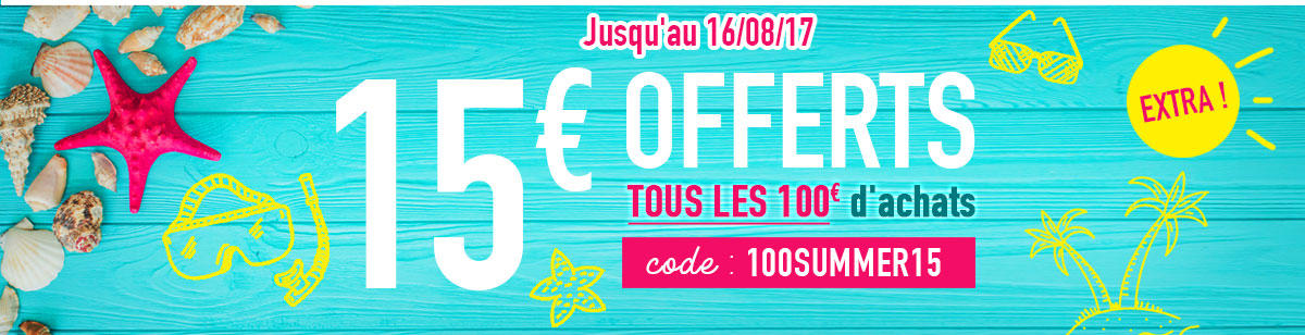 15euros offerts tous les 100euros d'achats