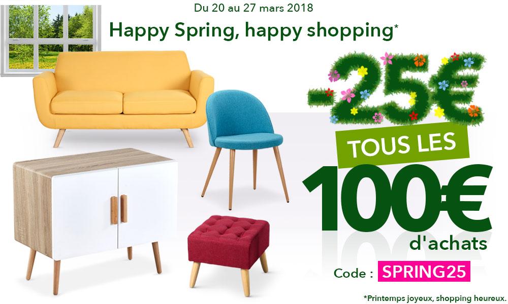C'est le printemps ! 25€ de réduction tous les 100€ d'achats pour rafraîchir son intérieur !