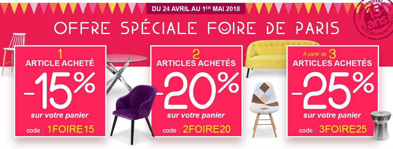 Promo spéciale Foire de Paris ! Jusqu'à -25% sur votre panier !