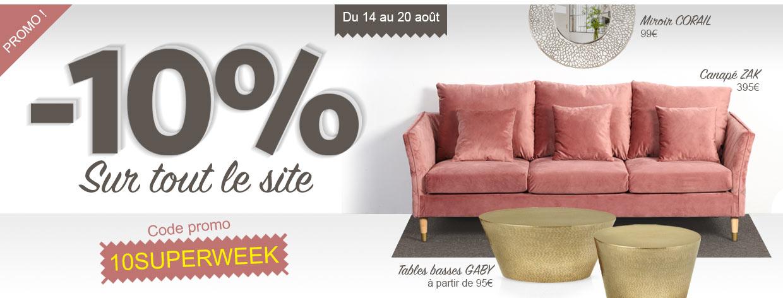 10% de réduction sur tout le site sans minimum d'achat !