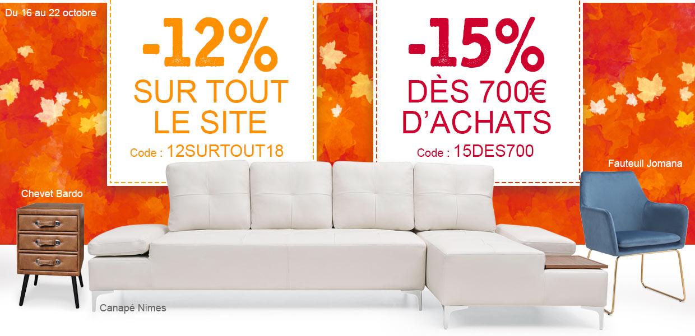 -12% sur tout le site et -15% dès 500€ d'achats !