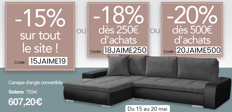 Promo 20190515 -15% sur tout le site : 18/250 - 20/500