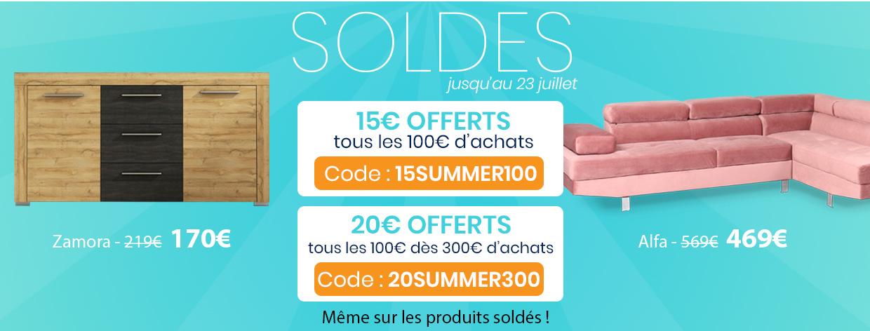 Soldes été : 15€ offerts tous les 100€ d'achats ou 20€ tous les 100€ dès 300€ d'achats