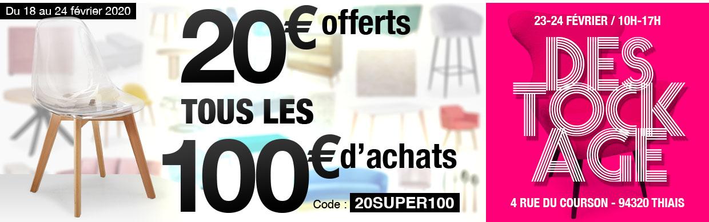 20€ offerts tous les 100€ d'achats