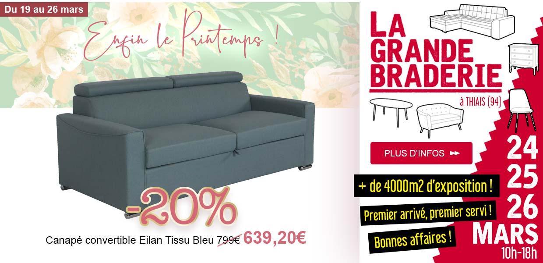 Canapé Elian Tissu Bleu -20%- Braderie