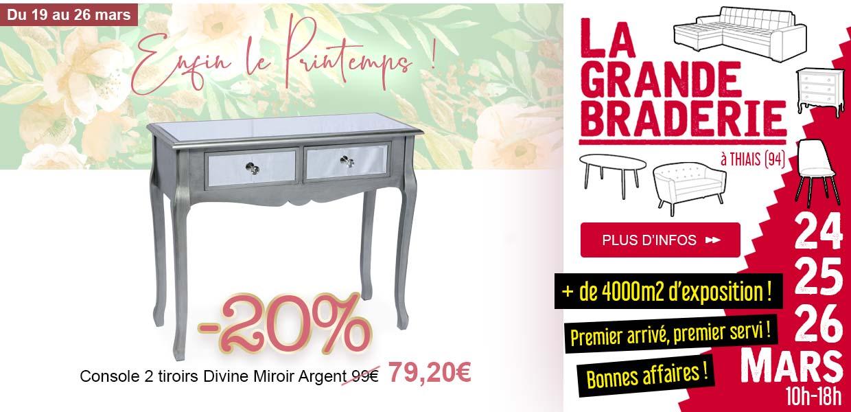 Console 2 tiroirs Divine Argent -20% - Braderie