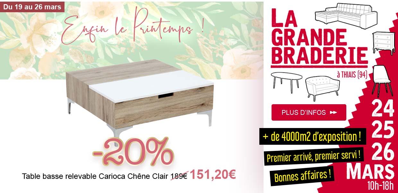 Table basse Carioca Chêne Clair -20% - Braderie