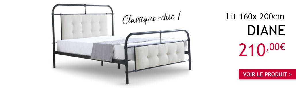 Lit classique-chic Diane 160cm