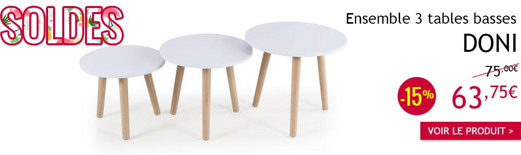 Ensemble de 3 tables basses scandinaves Doni