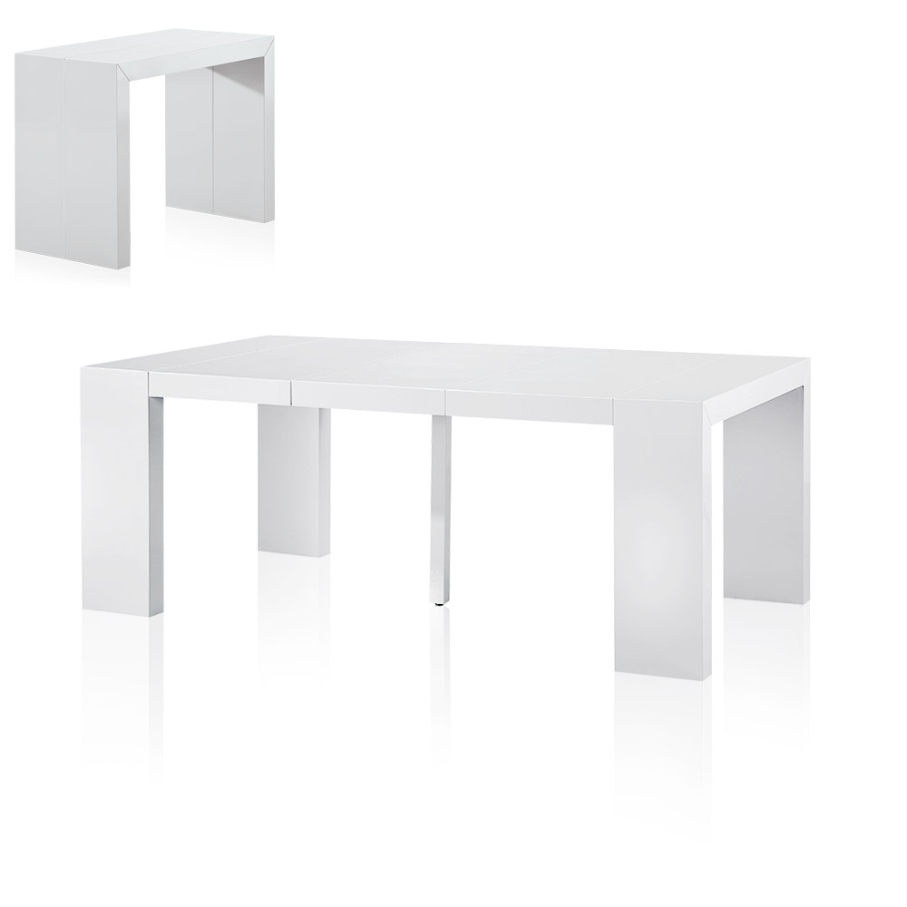 table console extensible 3 rallonges nassau laque blanc - Table Console Extensible Blanc Laque