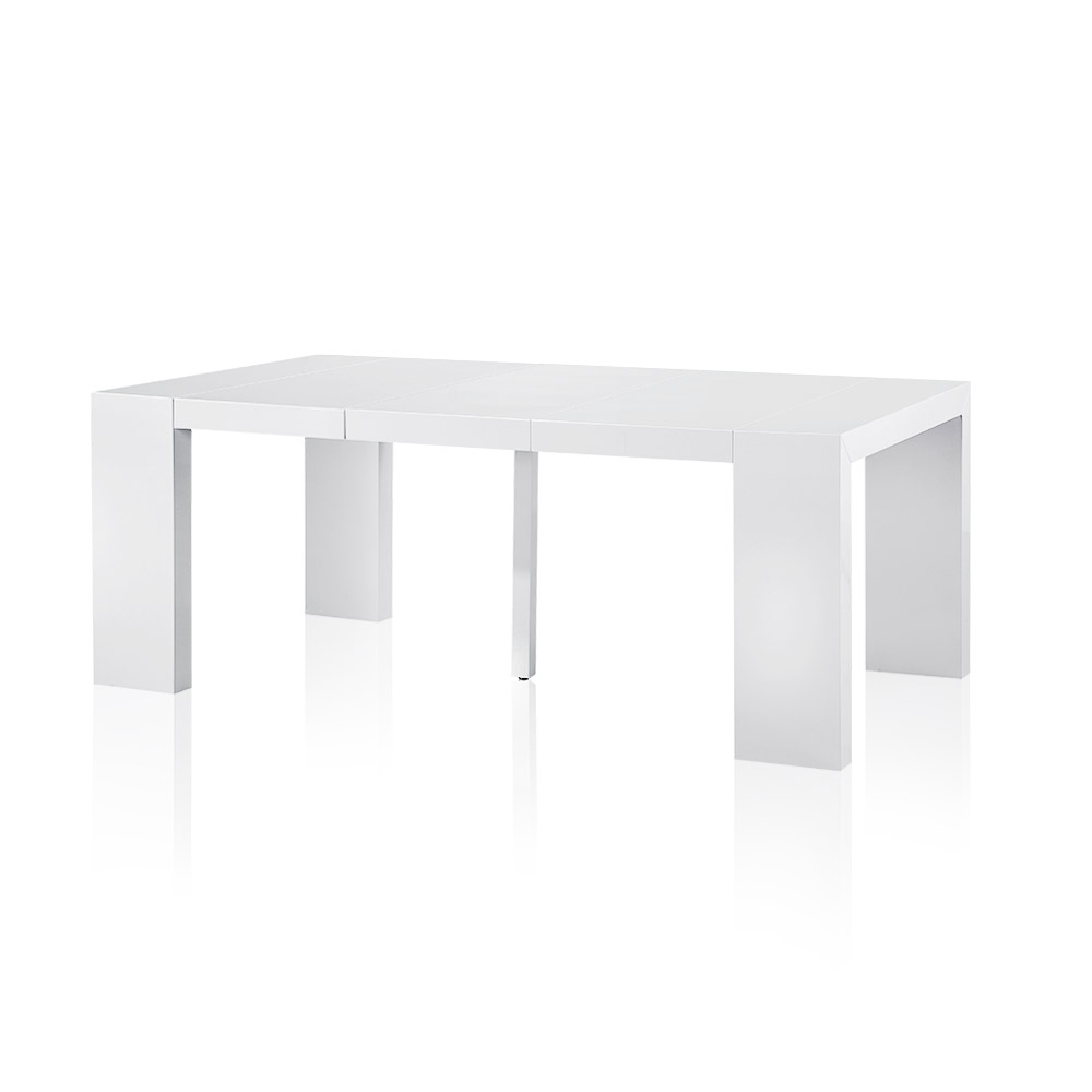 Good Table Console Extensible Pied Central #6: Table-console Extensible 3 Rallonges Nassau Laquée Blanc