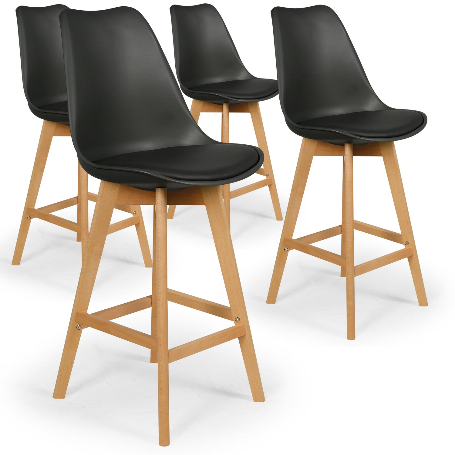 Lot de 4 chaises style scandinave Bovary Blanc
