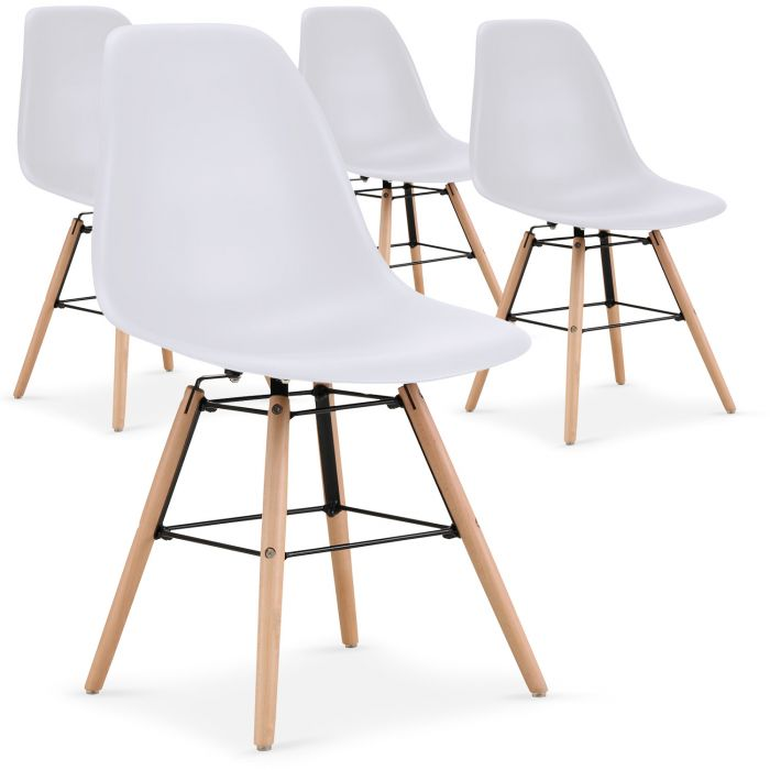 Lot de 4 chaises scandinaves Lisa Blanc