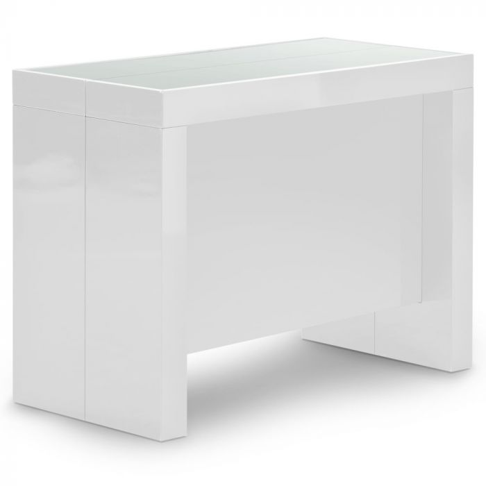 Table Console Extensible Pandore Blanc Laque