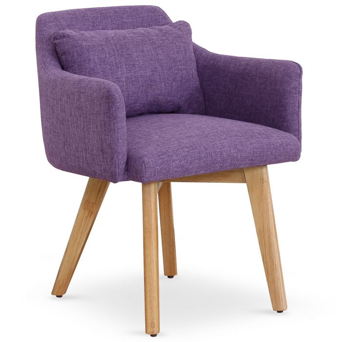 Chaise Fauteuil Scandinave Gybson Tissu Violet