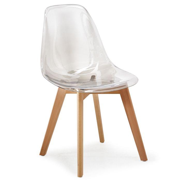 MeillAcc Lot de 4 chaises scandinaves transparentes en polycarbonate pour salle /à manger simple et pratique gris