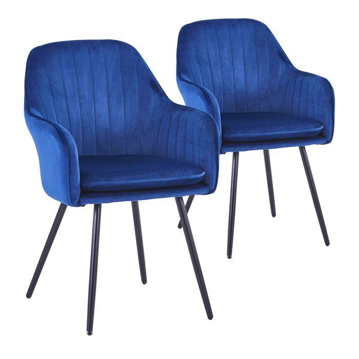 Lot de 2 chaises fauteuils Laura Velours Bleu