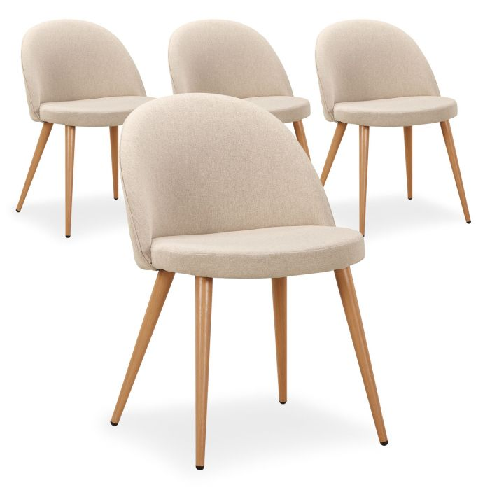 Lot de 9 chaises scandinaves Maury Beige