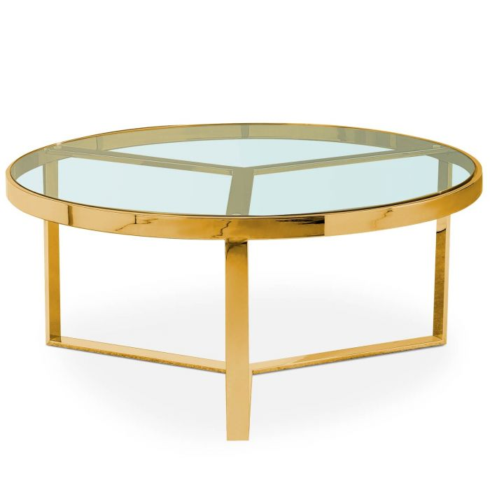 Table Basse Prisma Verre Transparent Et Pieds Or
