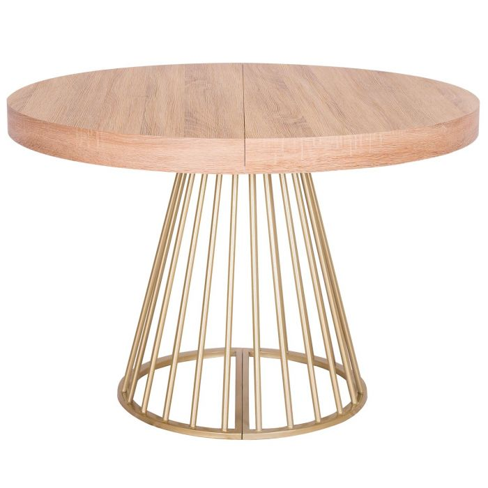 Table Ronde Extensible Suzie Chêne Clair: Table Ronde Extensible Soare Chêne Clair Pieds Or