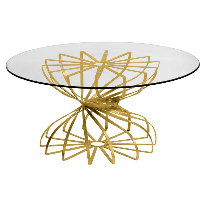 Table Basse Ronde Tornado Or Et Verre Transparent