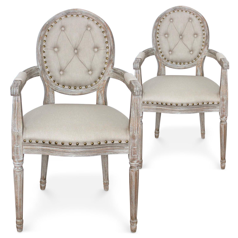 Lot De 2 Chaises Mdaillon Louis XVI Dynasty Tissu Beige Clout