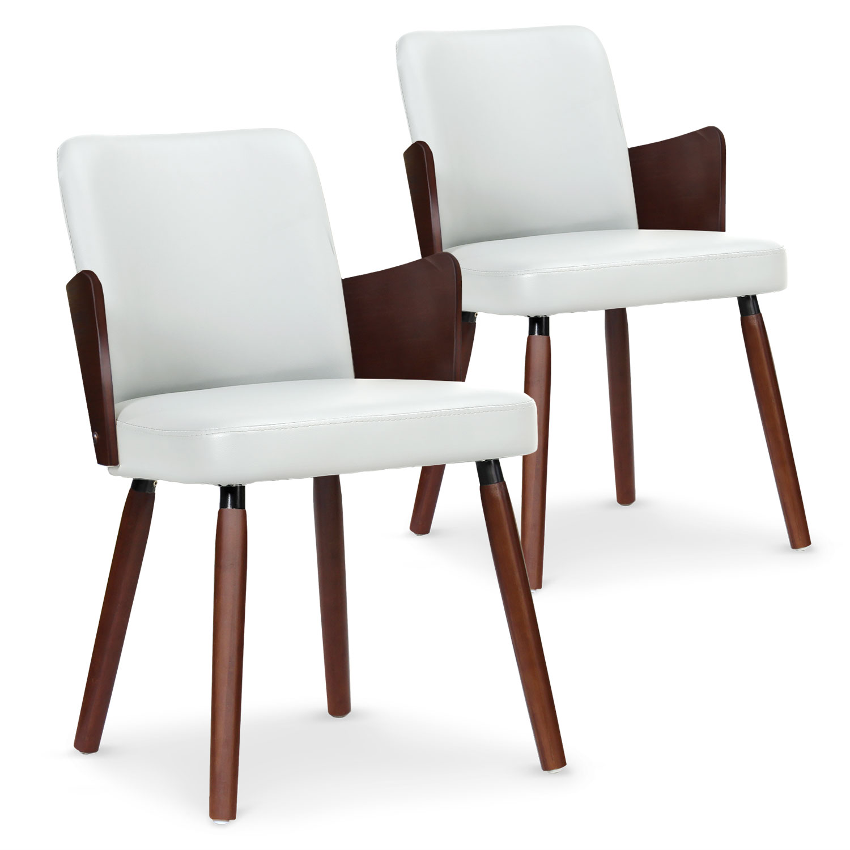 Lot de 2 chaises scandinaves Phibie bois noisette et Blanc