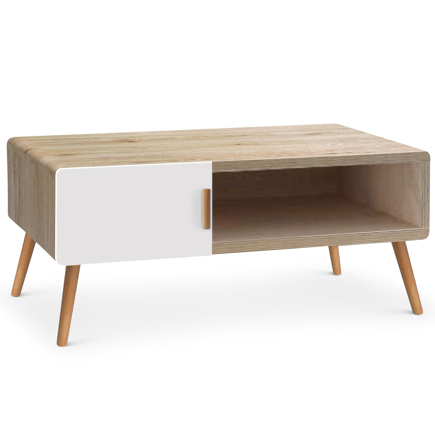 Table basse scandinave Amanda Chªne clair et Blanc